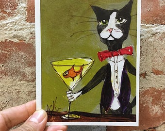 Funny Cat Card -  Silent Mylo Tuxedo Cat Card - Cat with Martini - Kitty Card - Art Card - Unique Card - Bartender Card