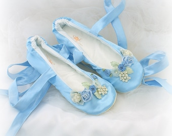 Something Blue Satin Bridal Shoes Ballet Flats Slippers Any Width and Length