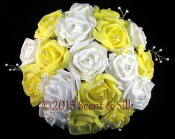 Wedding Bouquets, Brides, Bridesmaids, Yellow and Ivory or Yellow and White