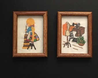 Set of Crewel Framed Wall Hanging Embroidered Artwork