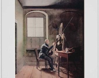 Caspar David Friedrich to Georg Friedrich Kersting falsifies the Mona Lisa, art print, fine art print