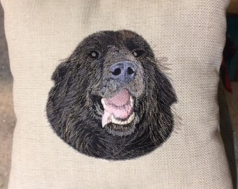 Newfoundland Custom Embroidered Pet Portrait Pillow