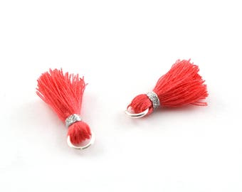 Small PomPoms 2 cm set of 2 coral pink P131-FM