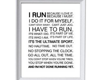 8x10 Running Print, Running Printable Instant Download, Running Poster, Black & White Decor, Runner's Motivation, Cross Country, Running