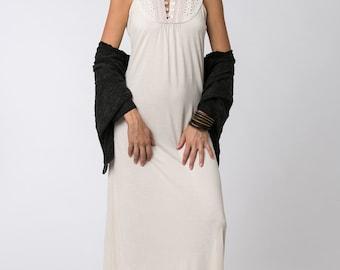 Off White Dress, Women Dress, Boho Chic Clothing, Evening Dress, Maxi Dress boho, Summer Dress, Long Dress, High Collar Dress