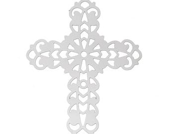 "20 Stainless Steel ornaments/pendant ""cross"", 40 x 32 mm"