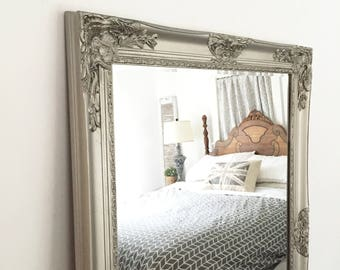 Pewter Salon Mirror, Farmhouse Vanity Mirror, Bathroom Mirror, Ornate Mirror