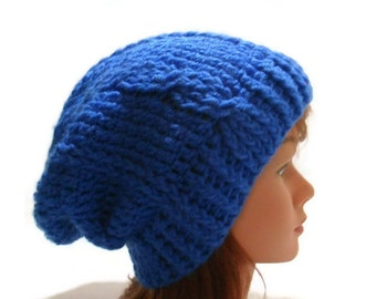 Cabled Winter Hat, Blue Cabled Hat, Blue Winter Beanie, Slouchy Blue Hat, Unisex Winter Hat, Cabled Hat, Blue Slouchy Beanie, Hipster Hat