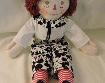 Raggedy Andy Doll, 20 inches, Handmade, Cloth Doll, Mickey Mouse Fabric