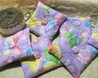 Organic Lavender Sachet - Small Pillow Sachet Set of 6 Butterfly Sparkles - Lavender Home Fragrance - Gift for Her - Organic Moth Repellent