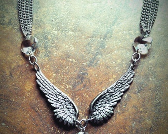 Double Wing Necklace with SMALL chandelier crystal