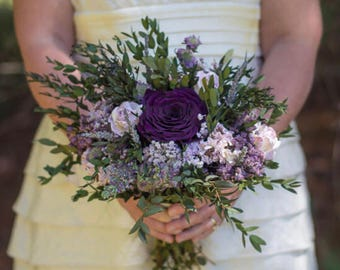 Purple Bouquet | Dried Flower Bouquet | Plum Lavender and Lilac Dried Wedding Flower Bouquet | The Evie Jane Collection