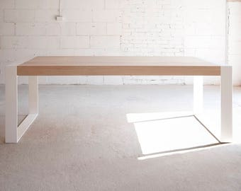 Handmade wood and steel table. Contemporary minimalistic design.
