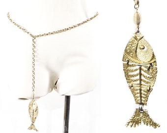 Gold Fish 60s Metal Chain Belt - Size XS Small Medium Large - Aquatic Novelty Animal Tassel - Chainlinks - Total Length 39 Inches - 50644