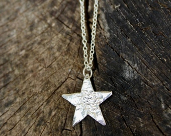 long silver star necklace, hammered silver star necklace, long silver necklace, reticulated silver necklace, star necklace, silver star gift
