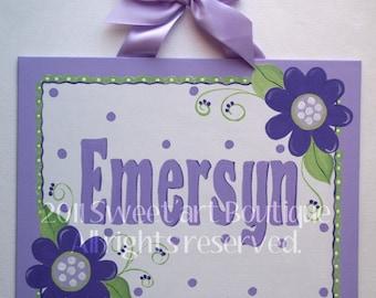 Personalized, Canvas name sign, Lavender, Purple, Nursery wall art, girls purple nursery, hand painted, flowers, green, Girls door sign