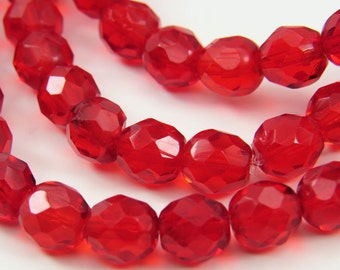 8MM Bright Red Beads Translucent Czech Glass Round Faceted Fire Polished 30 Beads PFP8MM010