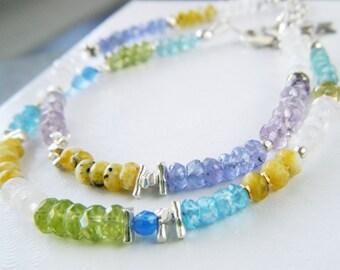 Multi gemstone bracelet Dainty opal bracelet Beaded peridot bracelet Rainbow moonstone apatite bracelet friendship bracelet Birthday gift