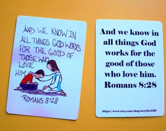 Mini Scripture Doodle Bible Verse Memory Card Of Encouragement/Romans  8:28/Jesus