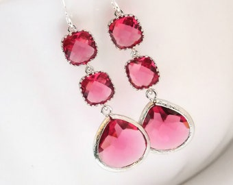 Glass Earrings, Fuschia Earrings, Fuchsia Earrings, Silver Earrings, Hot Pink, Bridesmaid Jewelry, Bridesmaid Earrings, Bridesmaid Gifts