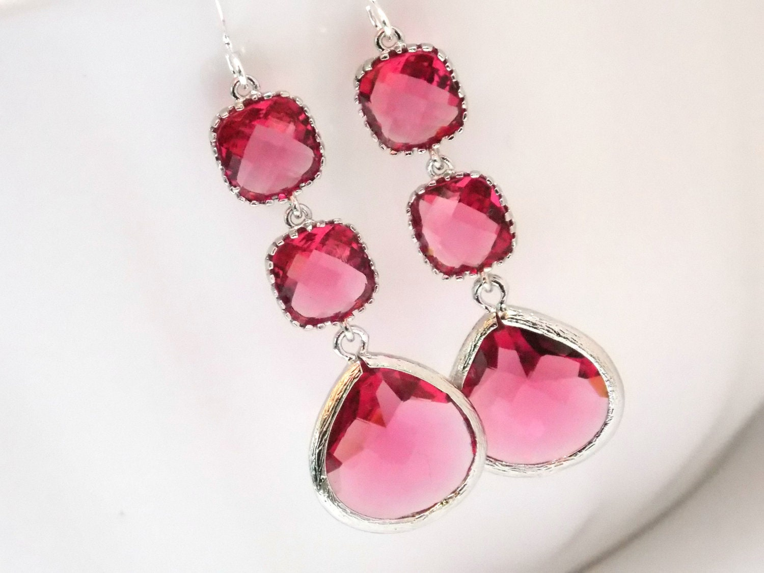 fuschia pinterest jewelry chandelier earrings pin