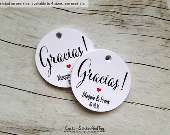 "50 gracias tags with custom initials and wedding date, circle 1.5"" wedding favor tags, personalized tags, thank you tags gift tags (T-49)"