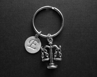 Paralegal charm Keychain, Gift for Legal Secretary, Attorney or Lawyer, Personalized Key chain - Initial Key chain