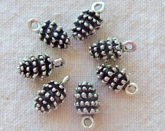 Tibetan Silver Pine Cone Charms - 11 x 8 mm - Set of 7