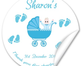 Personalised Baby Shower Stickers / Seals, Full Colour Gloss 38mm, Boy or Girl - V2