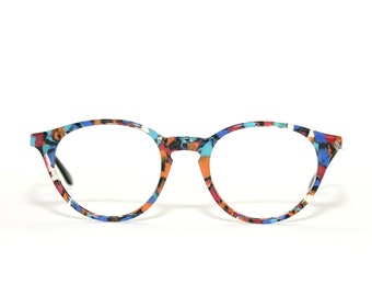 Round 80's Eyeglasses See You by Metzler Happy Multi Colored Colorful Medium Sized Eye glasses New Old Stock FREE SHIPPING Acetate
