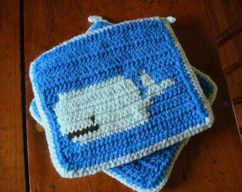 Whale Potholders - Whale Pot Holders - Whale Hot Pads - Blue Potholders, Blue Kitchen Gift, Mint Green Crochet, Crocheted Gift MADE TO ORDER