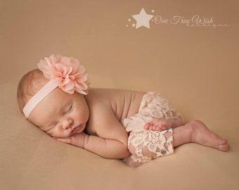Newborn girl headband, peach, baby girl headband, infant girl headband, baby headband, infant headband, newborn headband, infant hair clips