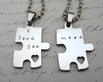 I Love You More Puzzle Piece Couples Necklace  Set - Custom - His & Hers- Fiance BFF Boyfriend Husband Partner Fathers Day Valentine's Day