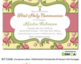 First Communion Invitations Girl Floral, Girl First Communion Invitation with Flowers, Printable 1st Communion Invitation for Girls, Printed