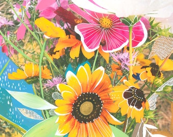 Wildflower Bouquet Art Print | Mixed Media Painting | Floral Photograph | Katie Daisy | 8x10 | 11x14