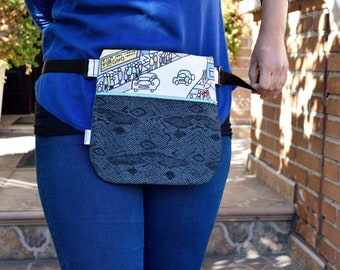 Waist bag,fanny pack,reversible waist bag,snake fanny pack,comic waist bag,reversible purse,reversible handbag,jeans waist bag,hips bag