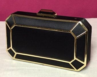 RSVP Hard Body Clutch, Black Satin with Gold Trim, Gem Purse, Gold Chain Strap, Handbag,