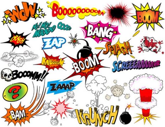 instant download superhero clip art digital comic book clip art rh etsystudio com comic book pow clipart free comic book clipart