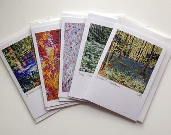 5 flower and woodland blank greetings cards of original paintings by Tracy Butler