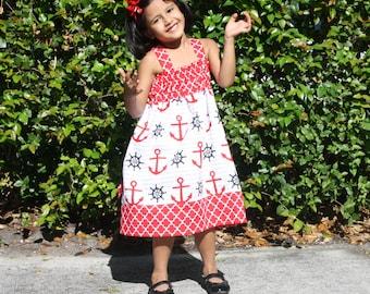 Baby Girl Dress, Girls Nautical Dress, Girls Cotton Dress, Girls Summer Dress, Baby Summer dresses