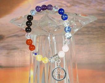 Chakra Balancing Bracelet with Tree of Life Charm 001353