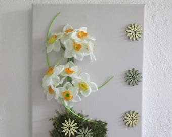 Table with artificial flowers, narcissus, 3D, floral, flower arrangement, wedding, gift