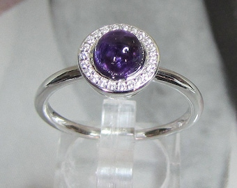 Ring Sterling Silver topped with Amethyst violet Tille 58