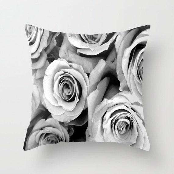 ROSES Black White Throw Pillow, Flower Pillow, 16x16, 18x18, 20x20, Decorative Pillow, Drama, Cushion, Wedding Gift, Vintage Rose, Nature