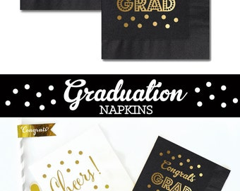 Graduation Napkins - Graduation Party Decor - Graduation Party Decorations 2016 Graduation Grad Party Decor (EB3099GRD) - set of 25 napkins