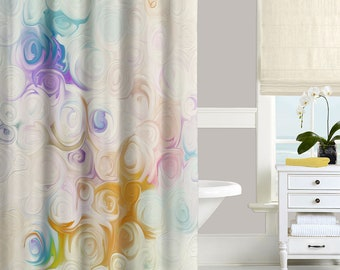 Floral Shower Curtain In Blue Purple Pink Lavender Yellow White Abstract Flowers Roses