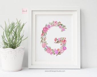 Floral Letter, Nursery Print, Monogram Print, Letter Print, Nursery Wall Art, Christmas Gift, Cadre, Gift Ideas, DT237