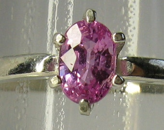 Natural unheated pink sapphire & sterling silver 925 ring size 7
