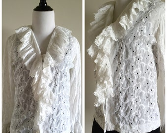 White Vintage Floral Boho Blouse with Fringe / Women's Small