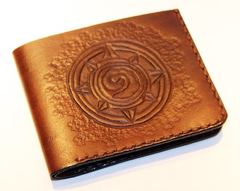 Hearthstone Leather Wallet, Handmade Leather Wallet, Great Gift For Gamer, Credit Card Wallet, Great Gift!